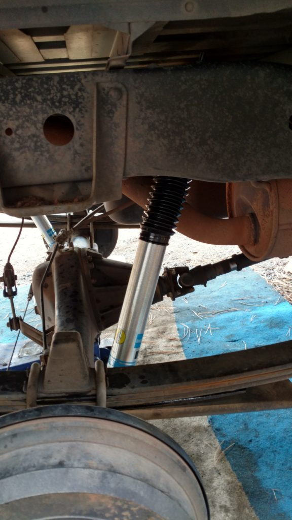 Add-a-leaf and Bilstein 5100s installed on the rear of a 1st gen Tundra